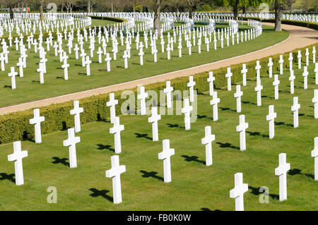 Graves of a American soldiers who died in World War II, US War Cemetery, Madingley, Cambridge, UK - Stock Photo