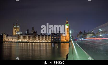 Big Ben and Westminster Bridge United Kingdom - Stock Photo