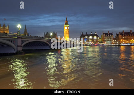 Big Ben and Westminster Bridge London United Kingdom - Stock Photo