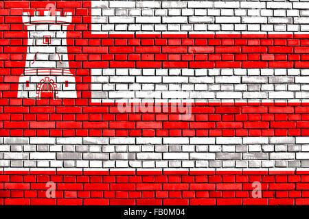 flag of Alkmaar painted on brick wall - Stock Photo