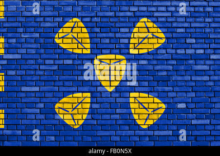 flag of Bussum painted on brick wall - Stock Photo