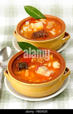 Asturian fabada. Spanish typical dish. - Stock Photo