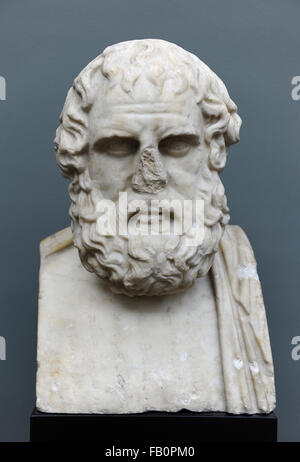 Euripides (480-406 BC). Was a tragedian of classical Athens. Bust. Roman copy of a Greek original (270 BC). Ny Carlsberg - Stock Photo