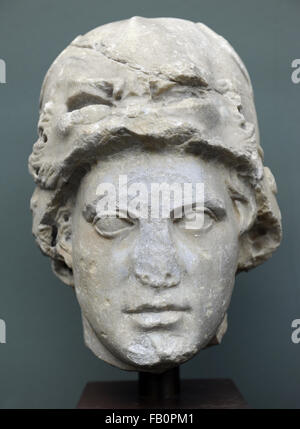 Alexander the Great (356-323 BC). King of Macedonia. Portrait. Marble, roman copy of a Greek original (3rd century - Stock Photo