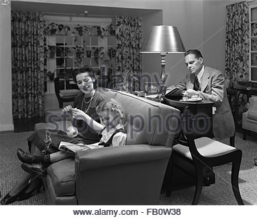 Furniture displays at Marshall Field and Company, 1942 Sept. 23. Living room. - Stock Photo