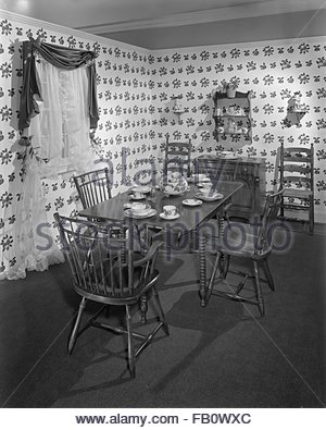 Highway 42 section of Marshall Field and Company furniture department, 1943 Feb. 15. Country style kitchen. - Stock Photo