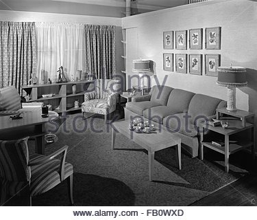 Highway 42 section of Marshall Field and Company furniture department, 1943 Feb. 15. Living room. - Stock Photo