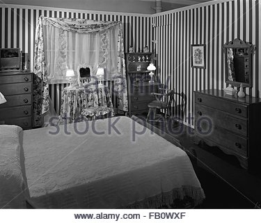Highway 42 section of Marshall Field and Company furniture department, 1943 Feb. 15. Bedroom. - Stock Photo