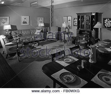 Highway 42 section of Marshall Field and Company furniture department, 1943 Feb. 15. Living and dining room. - Stock Photo