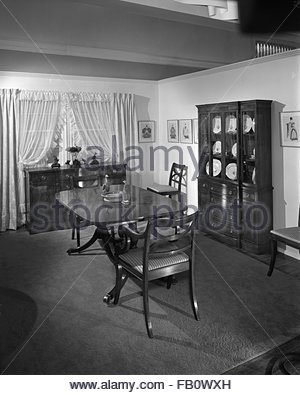 Highway 42 section of Marshall Field and Company furniture department, 1943 Feb. 15. Dining room. - Stock Photo