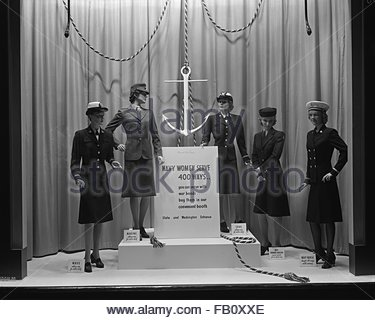 Window displays at Marshall Field and Company, including Navy women, 1943. Navy women. - Stock Photo