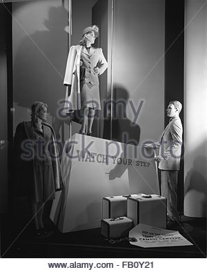 Window displays at Marshall Field and Company featuring campus canteen, 1943 Aug. 13. Campus canteen. - Stock Photo