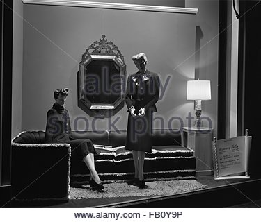 Window displays at Marshall Field and Company, including the 28 Shop, 1943 Oct. 28. Accessories. - Stock Photo