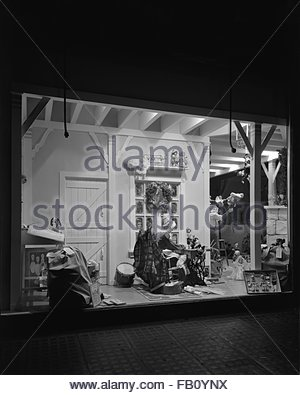 Window displays at Marshall Field and Company with toys, 1943 Dec. 2. Toys. - Stock Photo