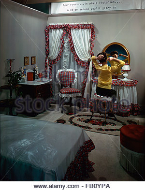 Furniture with model at Marshall Field and, 1943 Dec. 8. Bedroom, girl sitting at her vanity table., Image forms - Stock Photo