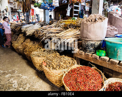 In the market of Myitkyina Stock Photo