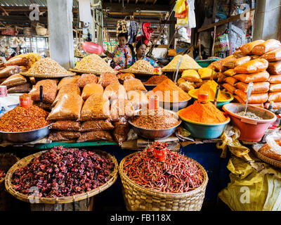 A spice shop in the market of Myitkyina Stock Photo