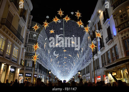 Christmas lights on the Calle Marques de Larios near the Plaza de la Constitucion Malaga old town Center Spanish - Stock Photo