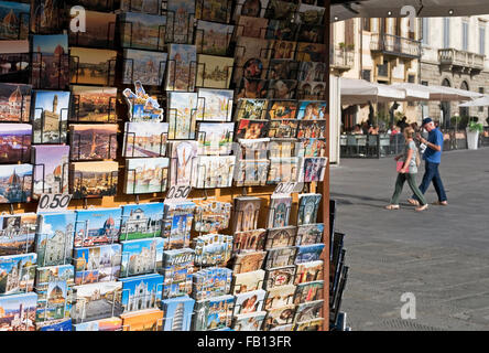newsagent kiosk selling postcards in Florence, Italy - Stock Photo