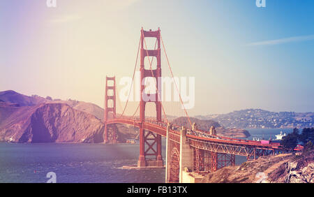 Retro stylized picture of the Golden Gate Bridge in San Francisco, USA. - Stock Photo