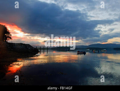 Stunning sunset in Bantry Bay, West Cork, Ireland with copy space, ideal book cover. - Stock Photo