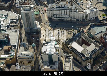An aerial view of City Square in Leeds City Centre, West Yorkshire - Stock Photo