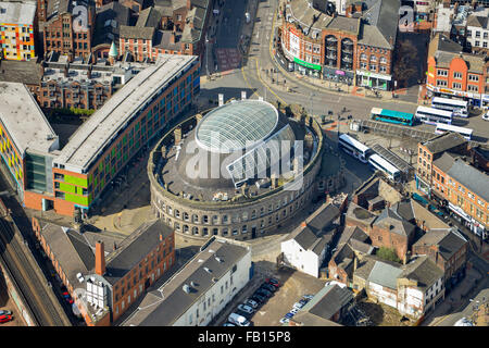 An aerial view of the Corn Exchange, a shopping centre in Leeds, West Yorkshire - Stock Photo