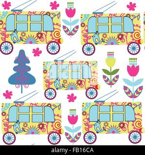 Cute colorful  seamless pattern with fantasy trolleybus and seamless pattern in swatch menu, vector image - Stock Photo