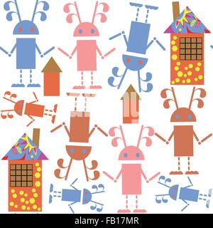 Cute seamless pattern with robots and houses and seamless pattern in swatch menu, vector illustration - Stock Photo