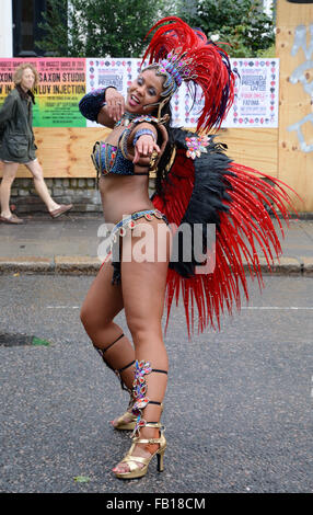 Dancer, at Notting Hill carnival. London, England. - Stock Photo