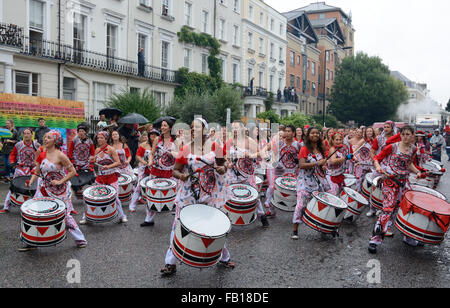 Drummers, Notting Hill, Carnival. London, England. - Stock Photo