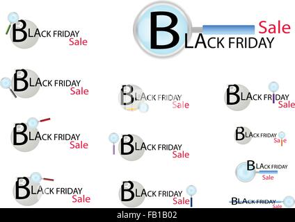 Magnifying Glass Searching Cheap Product on Black Friday Best Buy Deal, Sign for Start Christmas Shopping Season. - Stock Photo