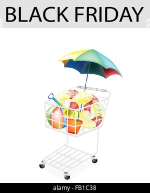 A Shopping Cart Full with Various Beach Items for Black Friday Shopping Season and Biggest Discount Promotion in - Stock Photo