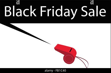 Red Whistle Blowing Black Friday Sale Banner, Sign for Black Friday Shopping Season and Biggest Discount Promotion - Stock Photo