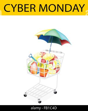 A Shopping Cart Full with Various Beach Items for Cyber Monday Shopping Season and Biggest Discount Promotion in - Stock Photo