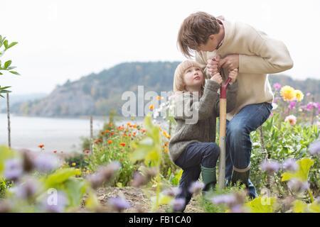 Mature man and son digging organic garden, Orust, Sweden - Stock Photo