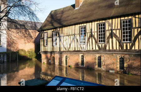 The Grade 1 listed building 'Merchant Adventurer's Hall' inundated by floodwater from the River Foss in December - Stock Photo