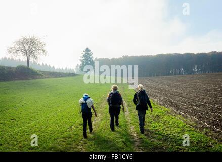 Rear view of mother and two children hiking along field path, Beaufort, Echternach, Luxembourg - Stock Photo