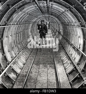 The Thames Tunnel underwater beneath River in London passengers pedestrian use crossed under, 1825 - Stock Photo
