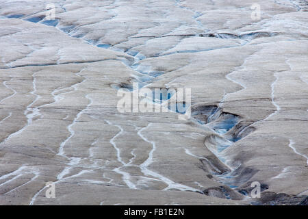 Supraglacial / surface meltwater flowing through sinuous channel on glacier