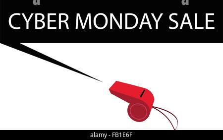 Red Whistle Blowing Black Friday Sale Banner, Sign for Cyber Monday Shopping Season and Biggest Discount Promotion - Stock Photo