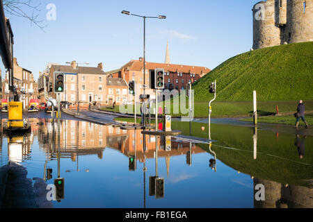 Floodwater at the base of Clifford's Tower, Christmas 2015, York, Yorkshire, England - Stock Photo