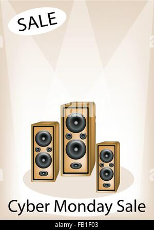 Audio Speaker Announcing Cyber Monday Sale, Sign for Start Christmas Shopping Season and Biggest Discount Promotion - Stock Photo