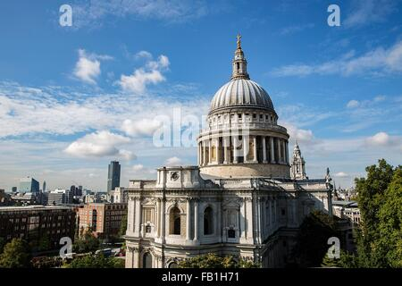 Elevated view of St Pauls Cathedral, London, UK - Stock Photo
