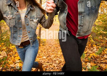 Cropped shot of romantic young couple running through autumn forest - Stock Photo