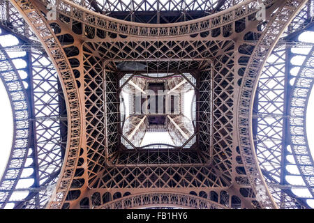 A view from the bottom under Eiffel Tower. - Stock Photo