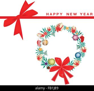 An Illustration Christmas Wreath Decorated with Christmas Ornaments on Greeting Card, Sign for Christmas Celebration. - Stock Photo