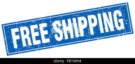 free shipping blue square grunge stamp on white - Stock Photo