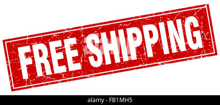 free shipping red square grunge stamp on white - Stock Photo