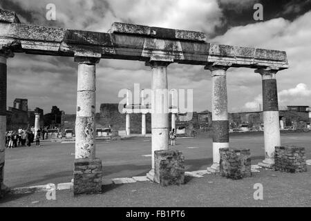 The Forum area of Pompeii, the Roman city buried in lava near Naples city, UNESCO World Heritage List 1997, Campania - Stock Photo